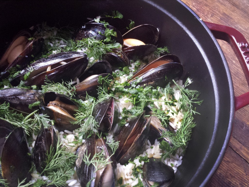All in one pot, making a delicious meal: mussels, herbs and rice.