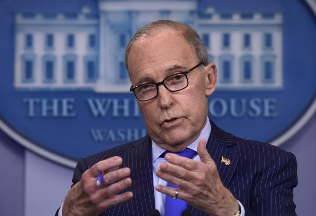 Senior White House economic adviser Larry Kudlow speaks during a briefing at the White House on Wednesday. Kudlow suffered a heart attack Monday, President Trump said on Twitter.