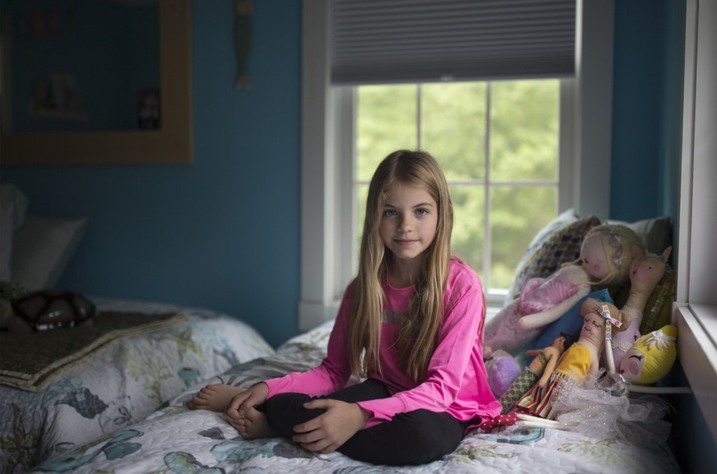 """Rhys Olivia Cote poses for a portrait in her room at her home in Wells. Rhys, who has been modeling since she was a toddler and has acted in television commercials, now can add """"movie actor"""" to her resumé. She filmed scenes last fall in Boston for """"The Equalizer 2,"""" scheduled to be released nationwide on July 20."""