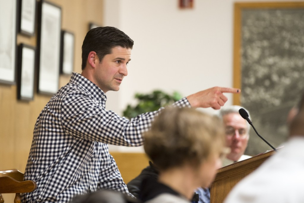 Waterville Mayor Nick Isgro is shown earlier this month at a budget meeting. Isgro survived a recall in Tuesday's election.