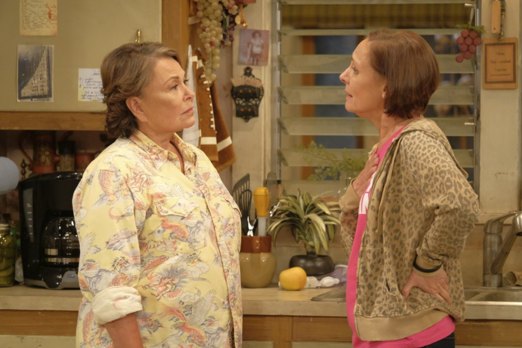 """Roseanne Barr, left, and Laurie Metcalf appear in an episode of the rebooted """"Roseanne,"""" which ABC canceled after Barr's racist tweet."""