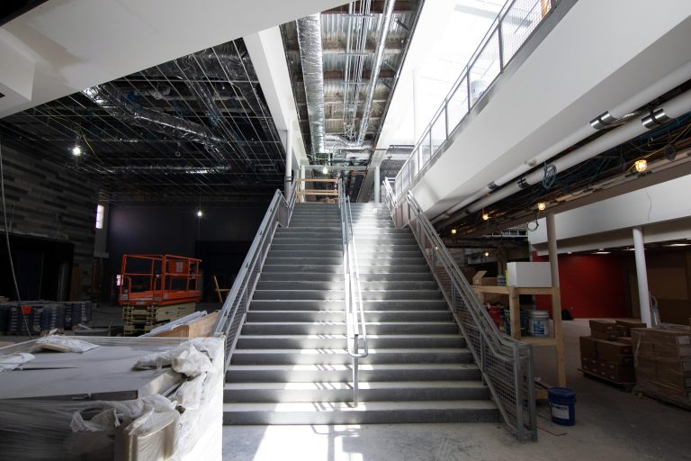 A staircase in the new Sanford High School and Regional Technical Center early in June.