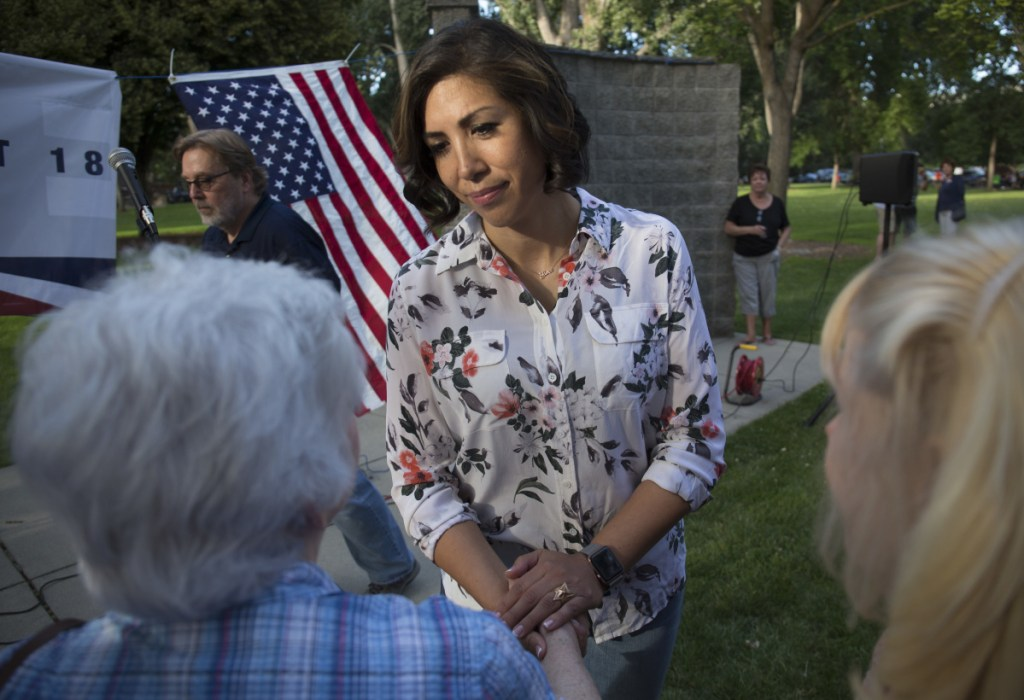 Democratic gubernatorial candidate Paulette Jordan greets attendees during the Idaho District 18 Democrats Campaign Kickoff BBQ on June 28 in Boise, Idaho. If she pulls off an upset against Lt. Gov. Brad Little in November, Jordan will be the first Native American governor of a U.S. state.