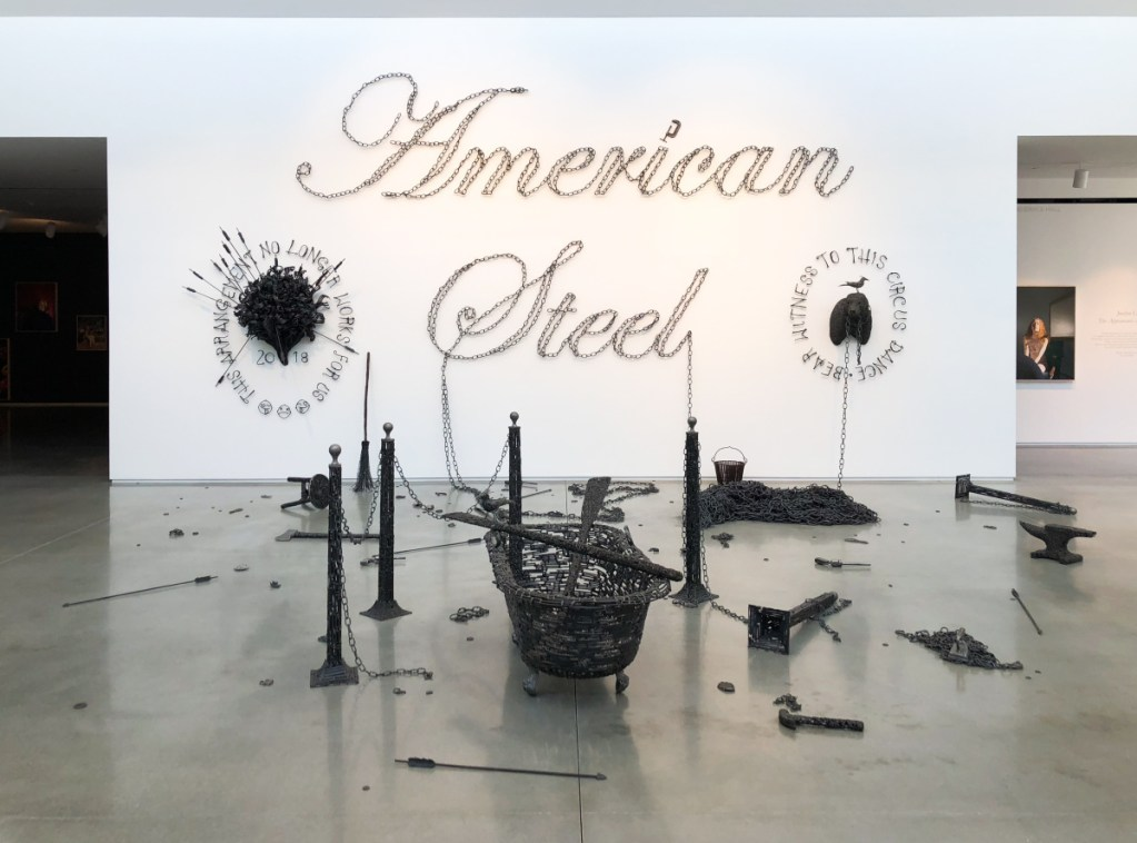 "John Bisbee's ""American Steel,"" 2018, forged and welded nails."