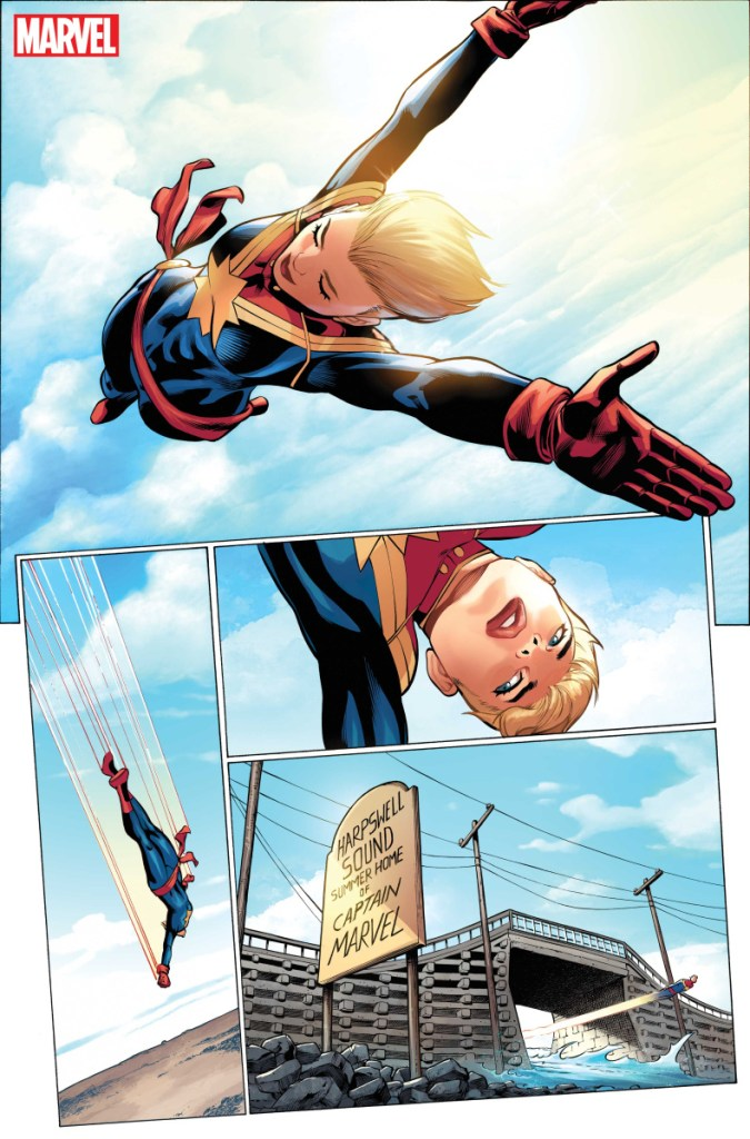 """When comic book superhero Carol Danvers isn't soaring over the coast, she may be flying under Harpswell's Cribstone Bridge, at top, in """"The Life of Captain Marvel."""""""