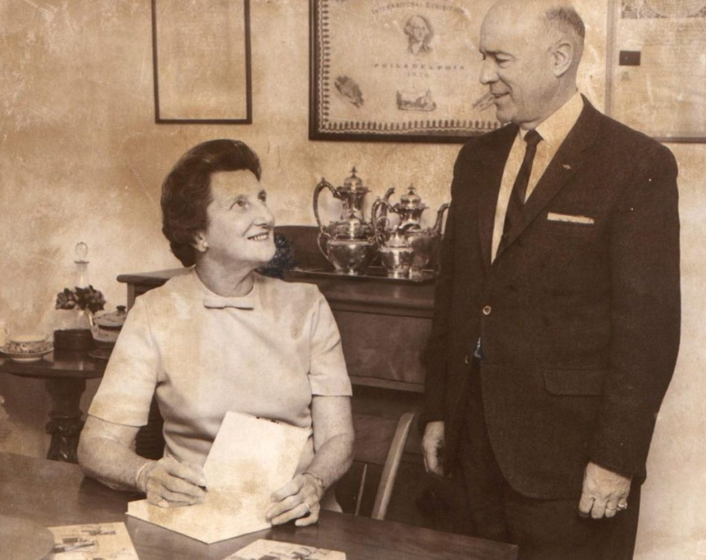"""Lowell N. Weston of East Winthrop chats with Marjorie Standish while she signs copies of """"Cooking Down East"""" – one each for Weston's wife, mother-in-law and brother-in-law – in this photo from January 1969."""