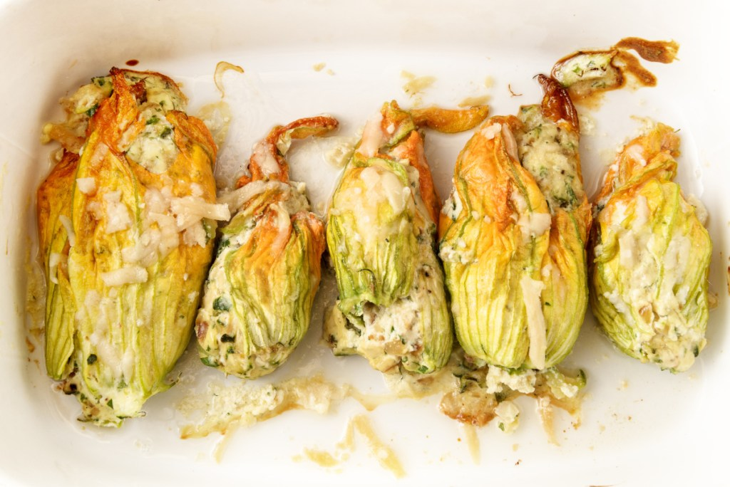 Zucchini blossoms stuffed with cheese and, in this instance, baked.