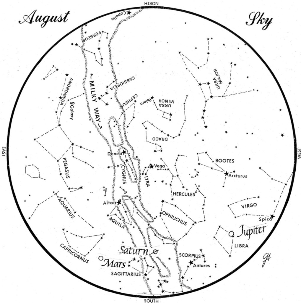 SKY GUIDE: This chart represents the sky as it appears over Maine during August. The stars are shown as they appear at 10:30 p.m. early in the month, at 9:30 p.m. at midmonth and at 8:30 p.m. at month's end. Mars, Saturn and Jupiter are shown in their midmonth positions. To use the map, hold it vertically and turn it so that the direction you are facing is at the bottom.
