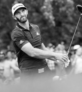 DUSTIN JOHNSON, the top-ranked PGA golfer in the world, hits his tee shot on the first hole during the final round of the Canadian Open at the Glen Abbey Golf Club in Oakville, Ontario, on Sunday. Johnson cruised to a three-shot victory. THE ASSOCIATED PRESS