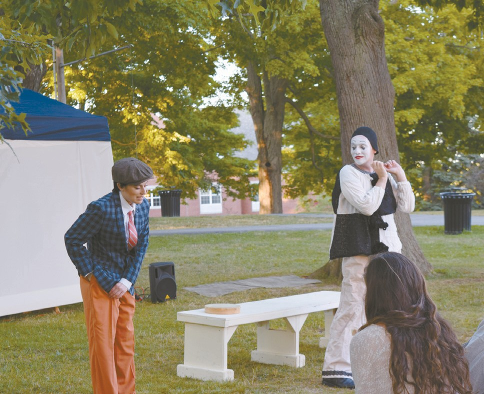 """JO-JO STEINE, left, and Sean Mannix, right, perform in Shakespeare's """"Twelfth Night"""" during the Bath Shakespeare Festival in Library Park Thursday night. Directed by Stephen Legawiec, the show will be running through Sunday. NATHAN STROUT / THE TIMES RECORD"""