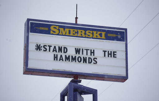 A sign shows support for Dwight and Steven Hammond in Burns, Ore. in 2015. Their imprisonment was central to the  Malheur National Wildlife Refuge standoff in early 2016.