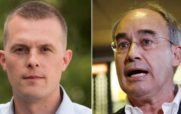 Jared Golden, left, and Bruce Poliquin
