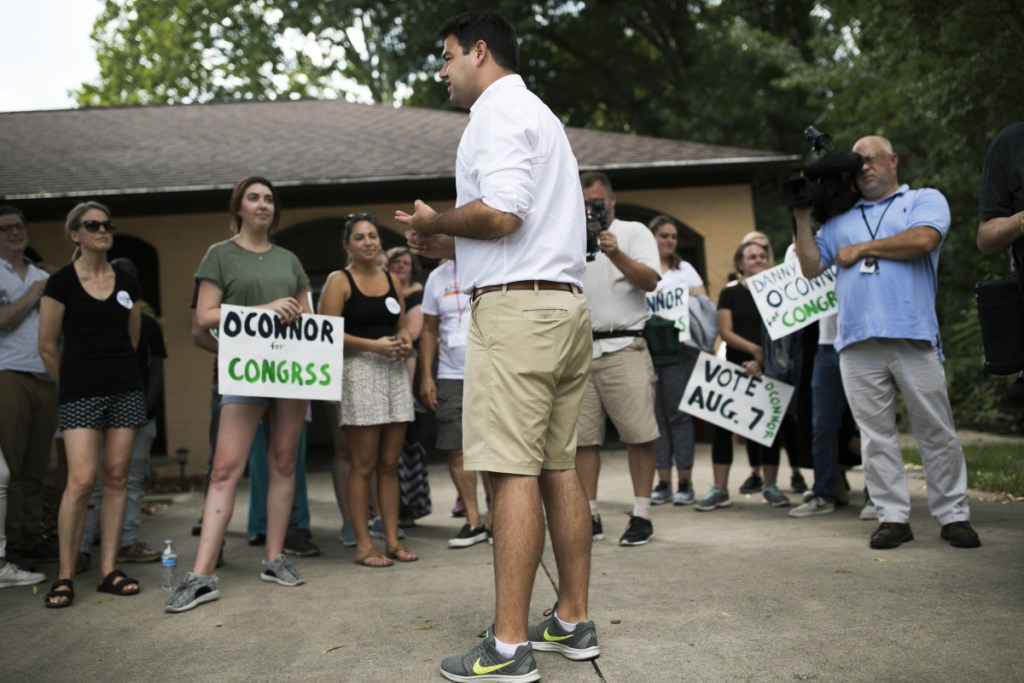 Ohio Democratic congressional candidate Danny O'Connor speaks during a volunteer canvas launch in Columbus, Ohio, on Aug. 5.