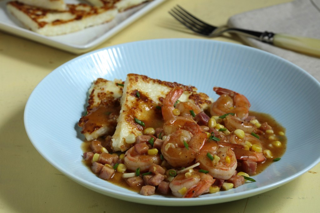 Grits can make a compact cushion for eggs, sausage or spicy shrimp.