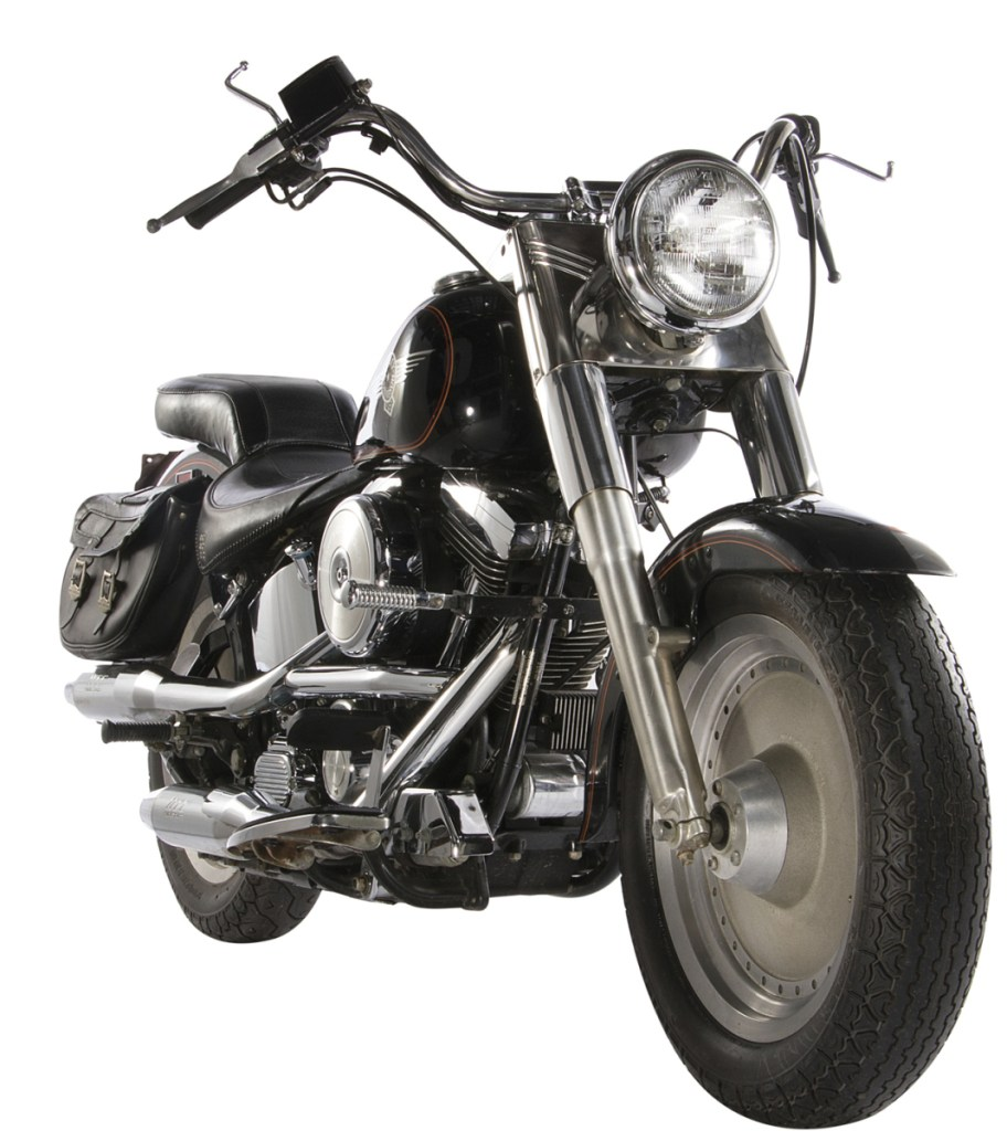 """This image released by Profiles in History shows a 1991 Harley-Davidson Fat Boy motorcycle used in the film, """"Terminator 2: Judgement Day,"""" which is among the items from Hollywood films up for auction in June. (Profiles in History via AP)"""