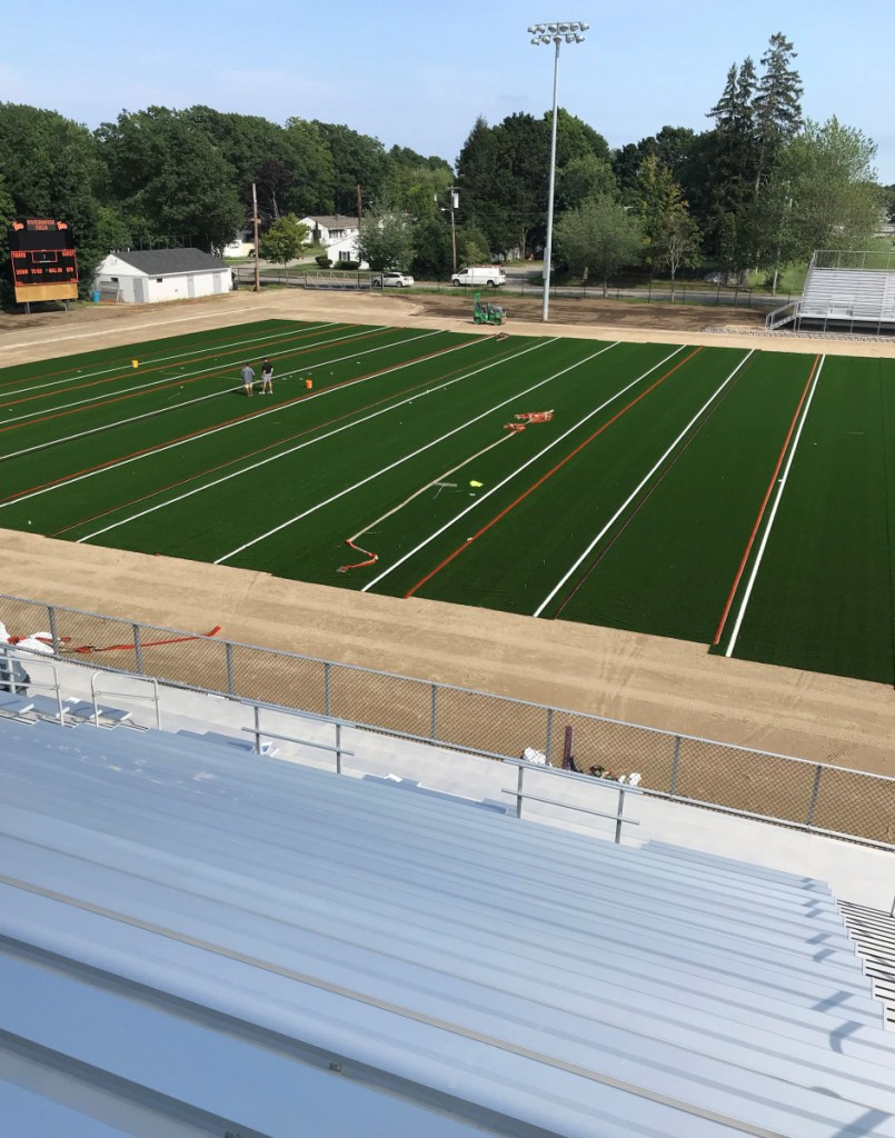 The installation of a new artificial turf at Waterhouse Field in Biddeford is under way and is expected to be completed on Aug. 23.