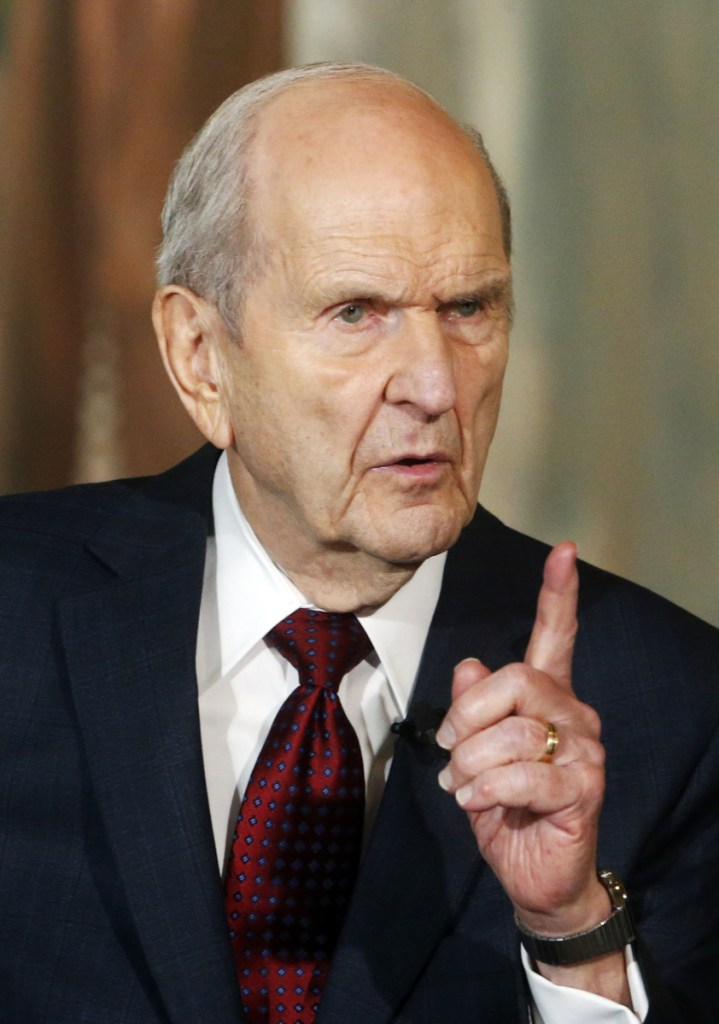"FILE - This Jan. 16, 2018, file photo, shows President Russell M. Nelson speaking at a news conference, in Salt Lake City. The president of the Mormon church is asking people to refrain from using ""Mormon"" or ""LDS"" as a substitute for the full name of the religion: The Church of Jesus Christ of Latter-day Saints, Thursday, Aug. 16, 2018. (AP Photo/Rick Bowmer, File)"