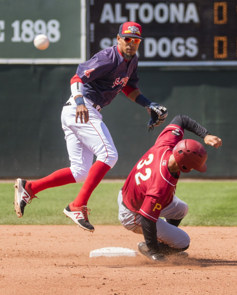 Second baseman Deiner Lopez of the Portland Sea Dogs watches his throw to first base to complete a double play Sunday after forcing out Tyler Gaffney of the Altoona Curve. Gaffney is a former New England Patriots running back. Altoona won 8-2 at Hadlock Field.