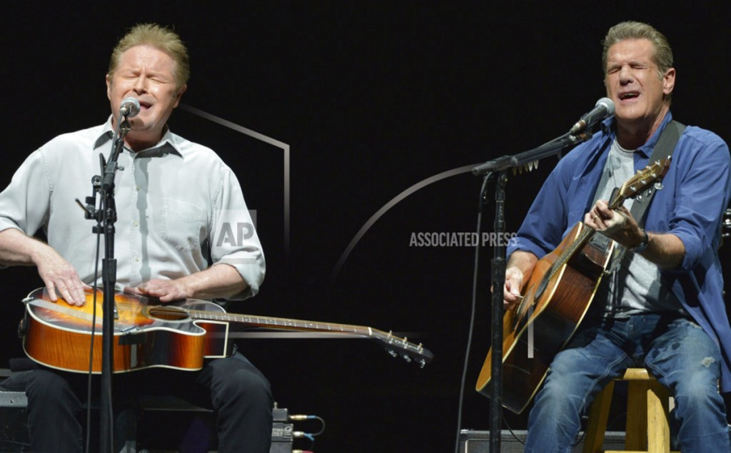 "Don Henley, left, and Glenn Frey of The Eagles perform on tour in 2014. The Eagles' greatest hits album has surpassed ""Thriller"" as the best-selling album of all-time."