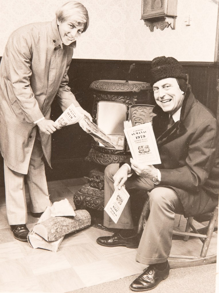 Peter Geiger and his father, Ray, made a promotional photo in late summer of 1978 for the 1979 Farmers' Almanac.