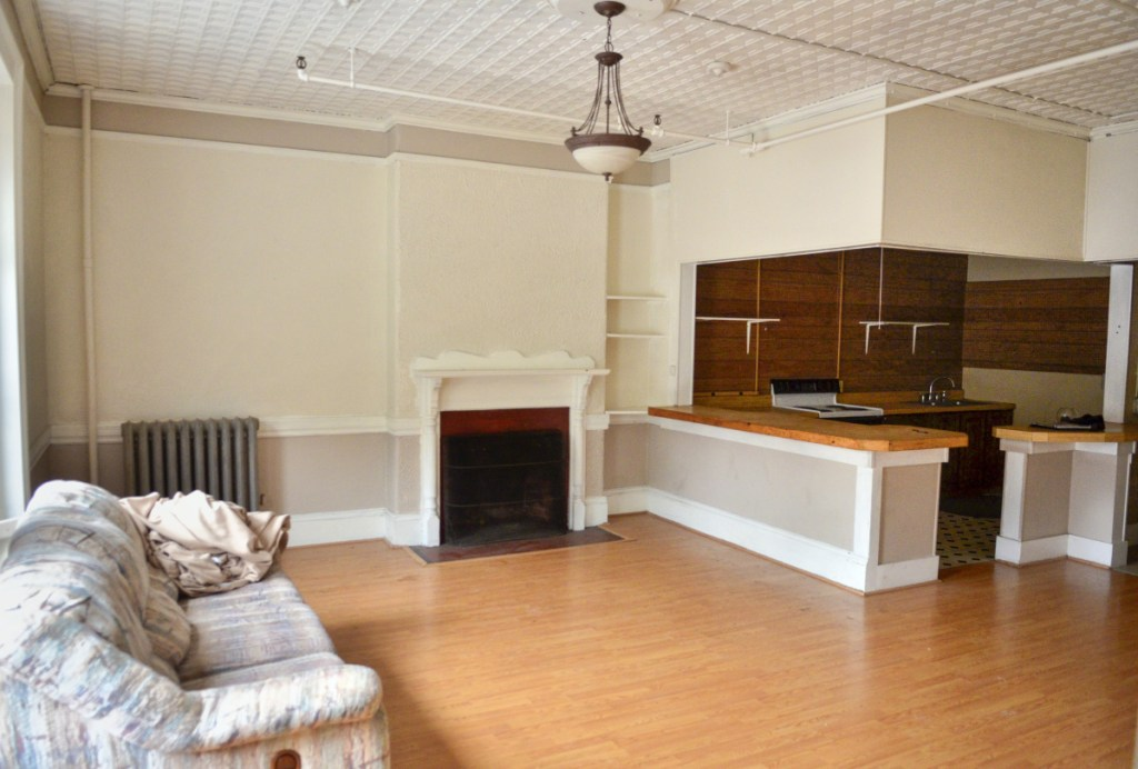 An apartment in the former Odd Fellows hall on Water Street in downtown Augusta.