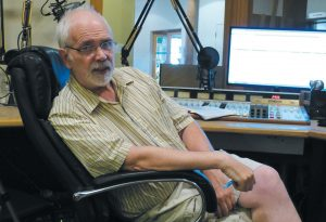 JIM BLEIKAMP talks about his Brunswick-based radio station, WCME, which is now broadcasting on 99.5 FM, in addition to its normal 900 AM band. DARCIE MOORE / THE TIMES RECORD