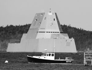 THE ZUMWALT-CLASS, future USS Michael Monsoor passes Fort Popham traveling down the Kennebec River as it heads out to sea for trials in December 2017 in Phippsburg. The annual defense bill recently passed by the Senate provides funding to the tune of $271 million for the Zumwalt-class destroyer program. BIW is the sole shipbuilder of stealthy, advanced destroyers. AP PHOTO/ROBERT F. BUKATY