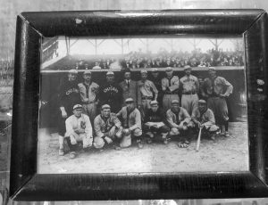A PHOTOGRAPH that belonged to baseball great Harry Lord. The 1910 photograph shows a group of American League all-stars, including Ty Cobb, front row, far left, prior to a game at Shibe Park in Philadelphia. It will sold sold at an upcoming auction in Biddeford. COURTESY OF SACO RIVER AUCTIONS VIA AP