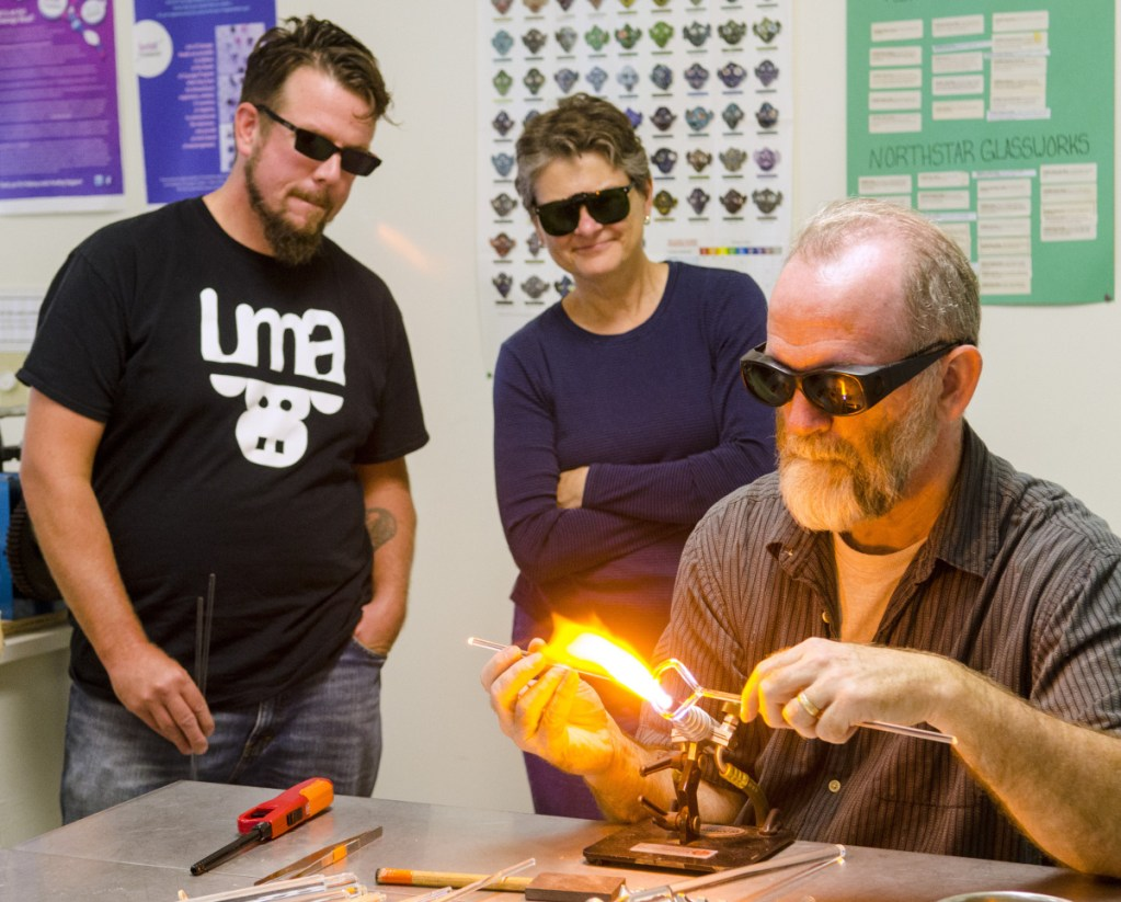 James F. Byrnes teaches a class Saturday at Stained Glass Express in Manchester.
