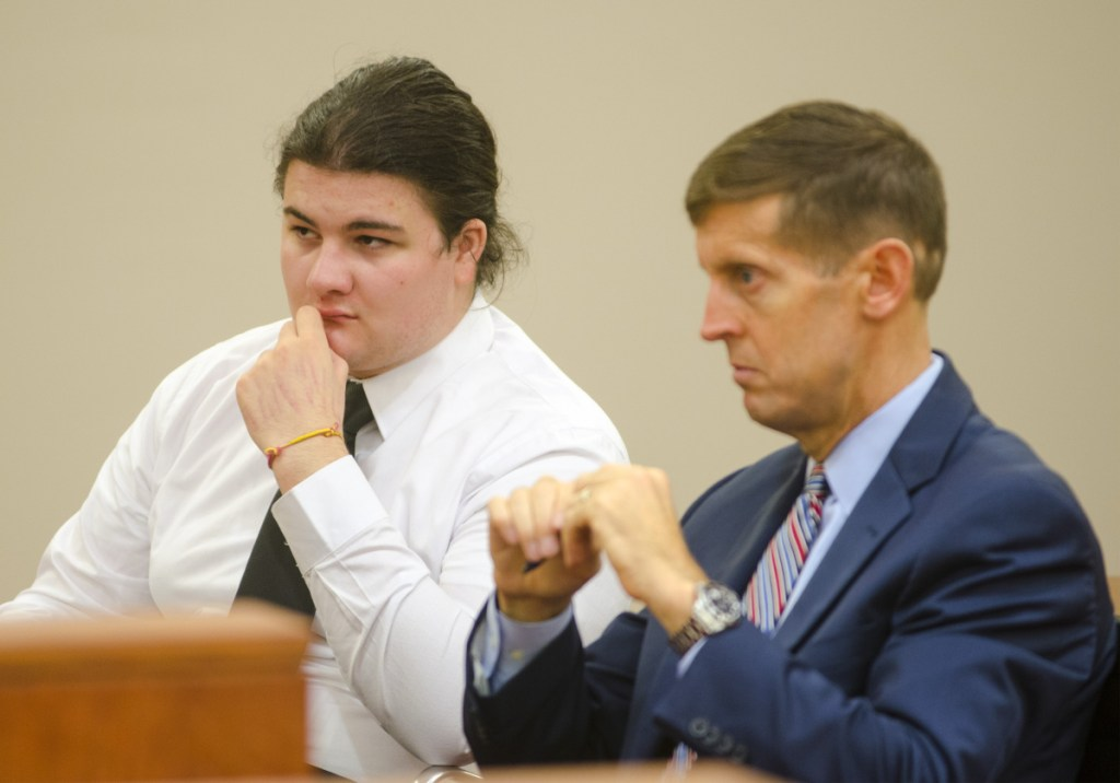 Andrew Balcer, left, sits with his attorney, Walter McKee, during a hearing on Oct. 26, 2017 at the Capital Judicial Center in Augusta. He is expected to plead guilty this month.