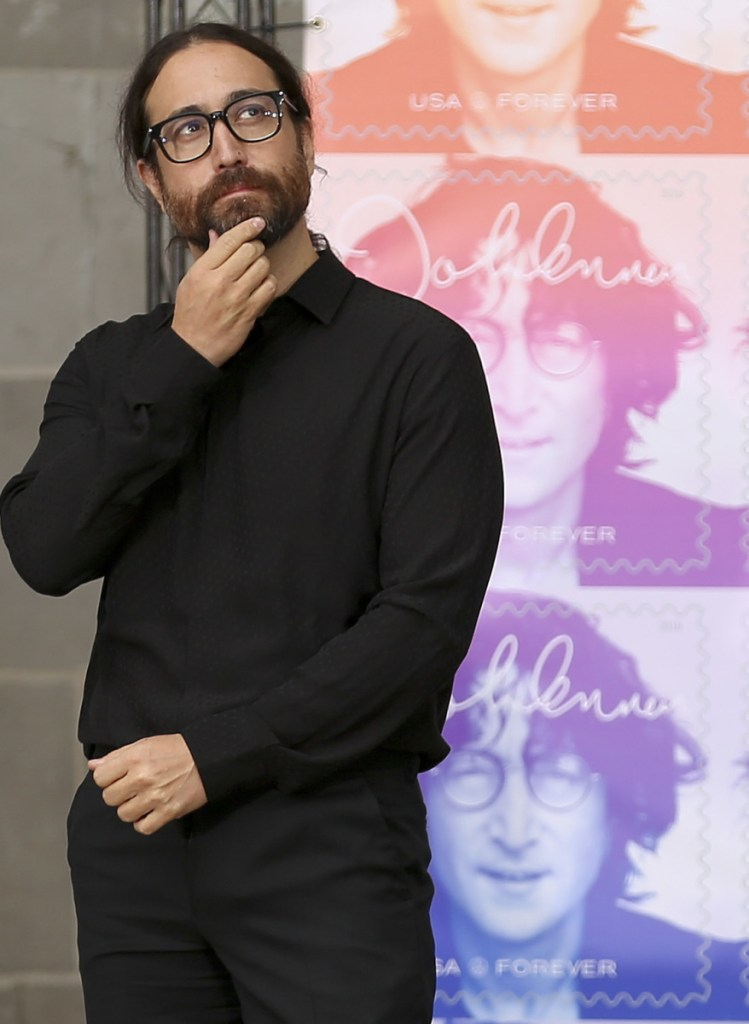 Sean Lennon attends a ceremony dedicating his father's new stamp Friday in New York.