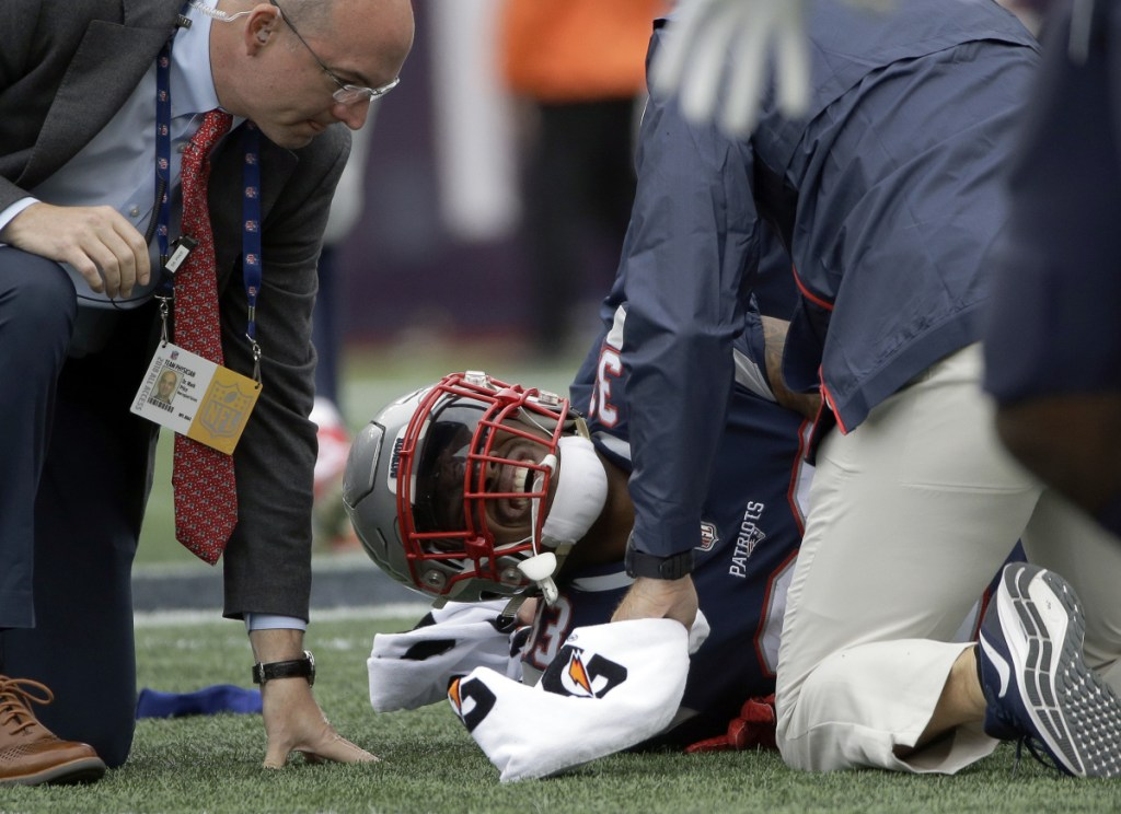 New England Patriots running back Jeremy Hill suffered a torn ACL in the Patriots' 27-20 win over Houston on Sunday and is done for the season.