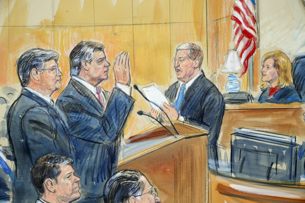 """This courtroom sketch depicts former Trump campaign chairman Paul Manafort, center, and his defense lawyer Richard Westling, left, before U.S. District Judge Amy Berman Jackson, seated upper right, at federal court in Washington. Manafort has pleaded guilty to two federal charges as part of a cooperation deal with prosecutors. The deal requires him to cooperate """"fully and truthfully"""" with special counsel Robert Mueller's Russia investigation."""