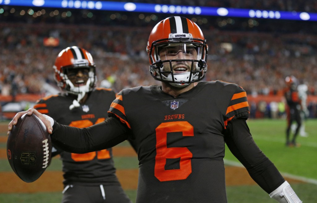 Browns quarterback Baker Mayfield celebrates after scoring a 2-point conversion in the second half Thursday night against the New York Jets.