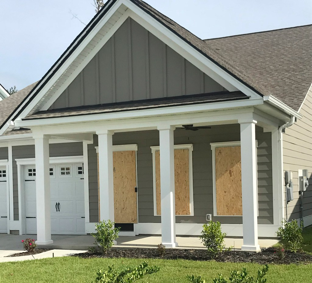 """David Redlon's home in Myrtle Beach, S.C., was prepped for the storm by Wednesday. Redlon, originally from Windham, said he decided to """"hunker down and ride out"""" his first hurricane."""