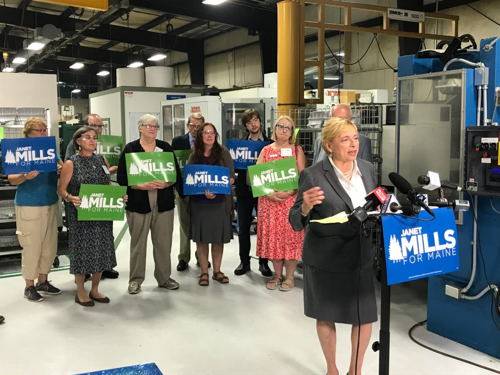 """Attorney General Janet Mills, the Democratic candidate for governor, unveiled her economic """"action plan"""" Tuesday on the factory floor of Kennebec Technologies in Augusta"""