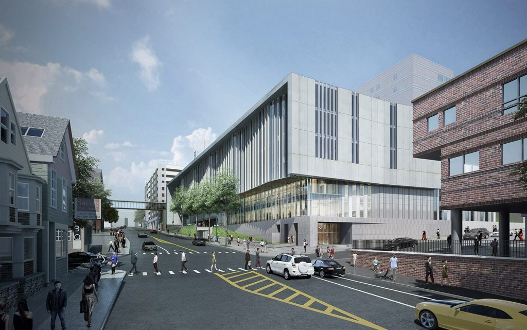 This rendering shows the six-story building that Maine Medical Center plans to build on Congress Street as part of its expansion.