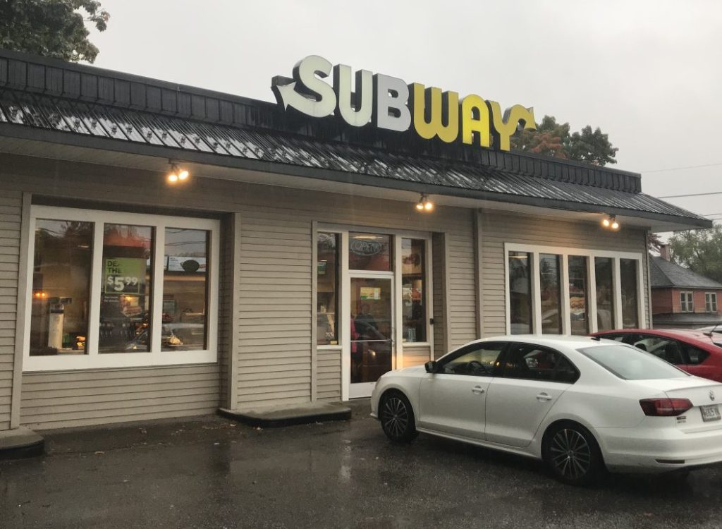 The Bangor Street Subway restaurant in Augusta, as seen shortly after the robbery took place Tuesday afternoon.