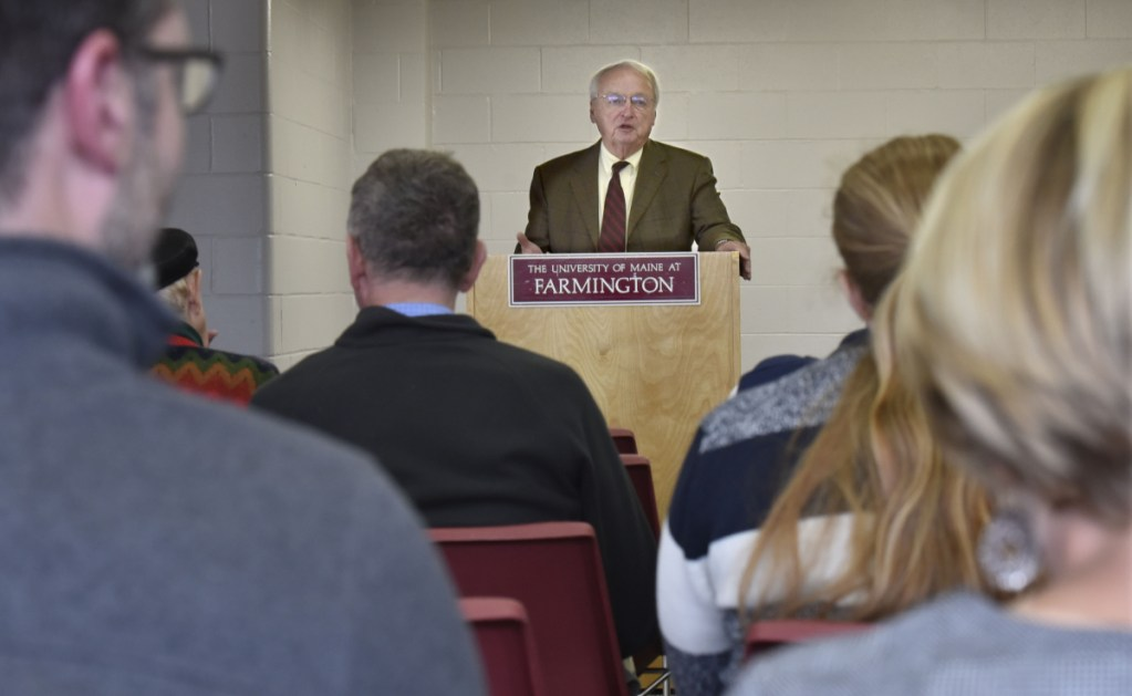 Kevin Concannon, former undersecretary of the U.S. Department of Agriculture for Food, Nutrition and Consumer Affairs, addresses a group Oct. 17 at the University of Maine in Farmington about opportunities to combat poverty in Maine.