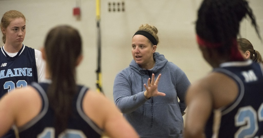 Amy Vachon instructs her University of Maine basketball players during a practice session Wednesday. The Black Bears are coming off a 23-win season in which they won the America East title and reached the NCAA tournament.