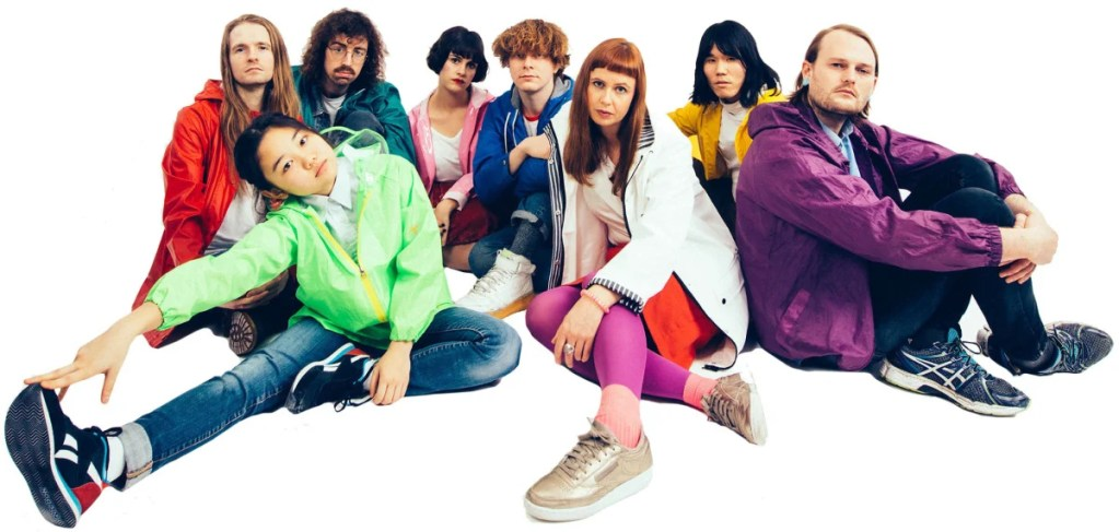 Orono Noguchi, front left, with Superorganism, whose self-titled debut album Rolling Stone named one of the 50 best albums of the year.