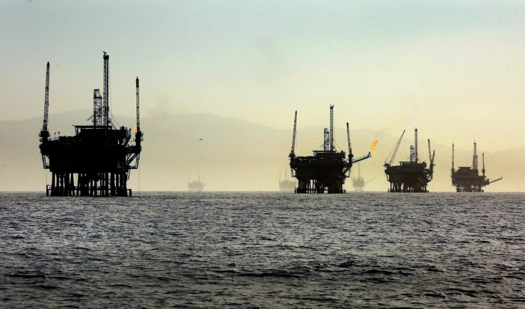 Off-shore oil rigs line the Santa Barbara Channel near the Federal Ecological Preserve en route to the Channel Islands National Marine Sanctuary in March 2015.