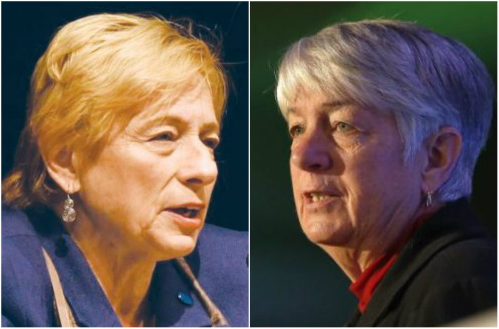 Democratic candidate Janet Mills, left, and independent Terry Hayes are the targets of new Republican ads in Maine's race for governor.