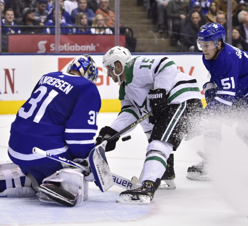 Toronto goaltender Frederik Andersen makes a save against Blake Comeau of the Stars, who got goals from Jamie Benn and Devin Shore in a 2-1 win.