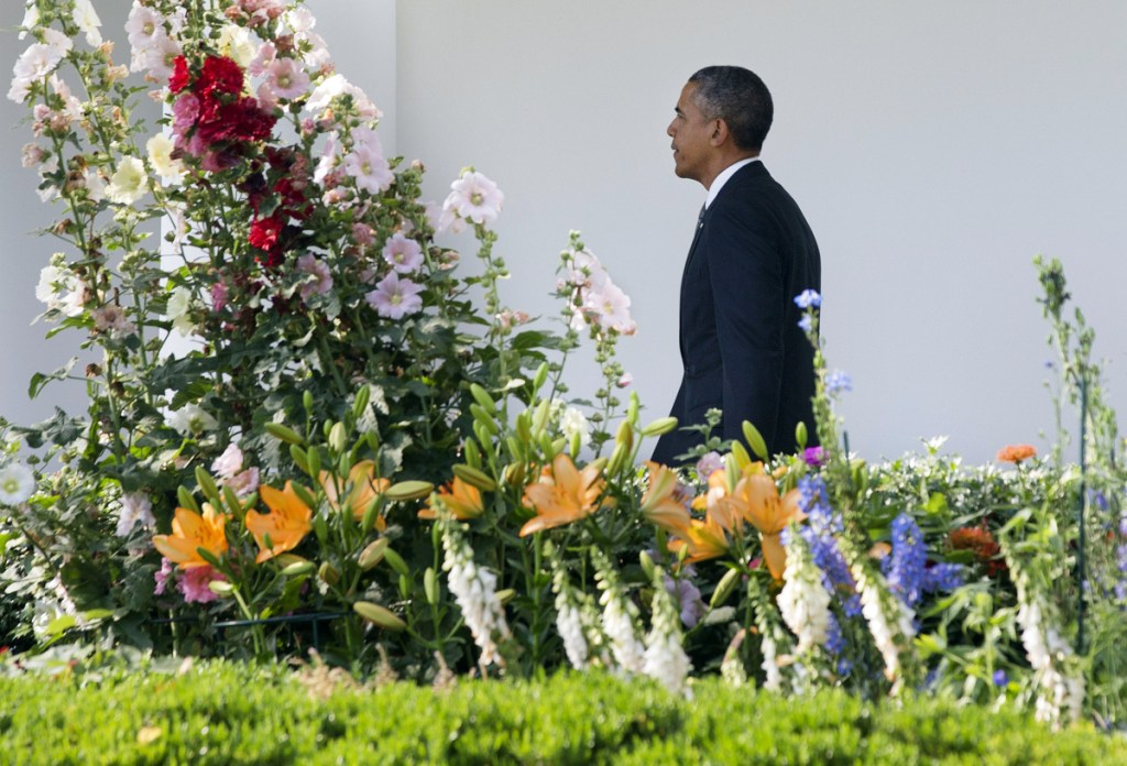 President Barack Obama walks toward the Oval Office, passing flowers in the Rose Garden, after returning from a trip to California on June 16, 2014. Irvin Williams, who worked as head gardener at the White House from 1962 to 2008, died Wednesday.