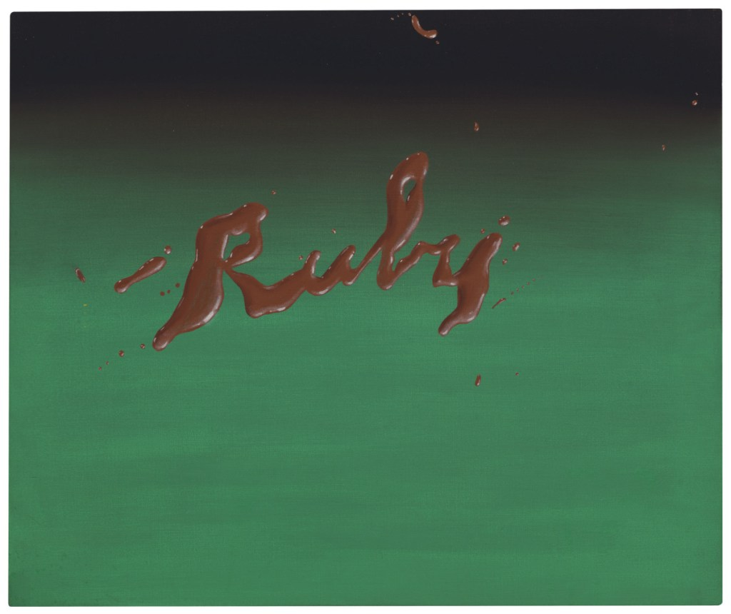 """Ed Ruscha's """"Ruby,"""" oil on canvas, 20-by-24 inches"""