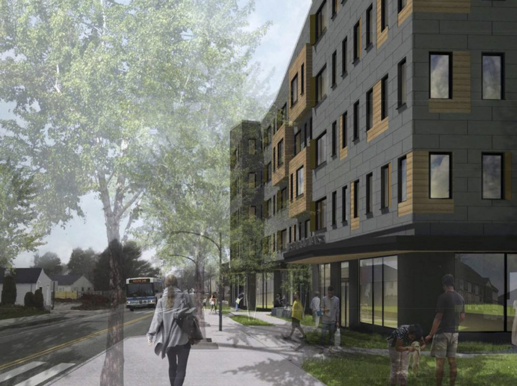 A rendering depicts the 64-unit West End Apartments proposed for 586 Westbrook St. in South Portland with commercial space on the ground floor. (Rendering courtesy of Kaplan Thompson Architects)