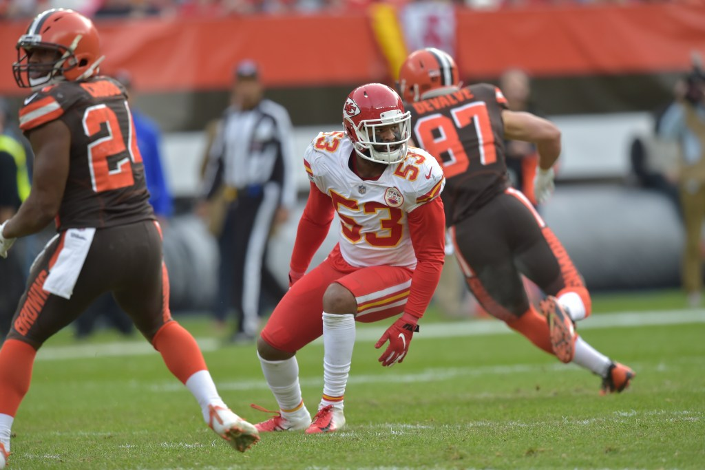 Kansas City inside linebacker Anthony Hitchens, 53, knows the Chiefs face a tough task in trying to stop Rams running back Todd Gurley on Monday night.