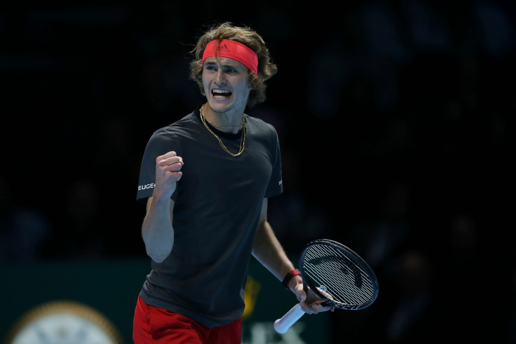 Alexander Zverev of Germany celebrates breaking serve against Novak Djokovic of Serbia in their ATP World Tour Finals singles final match Sunday at the O2 Arena in London.