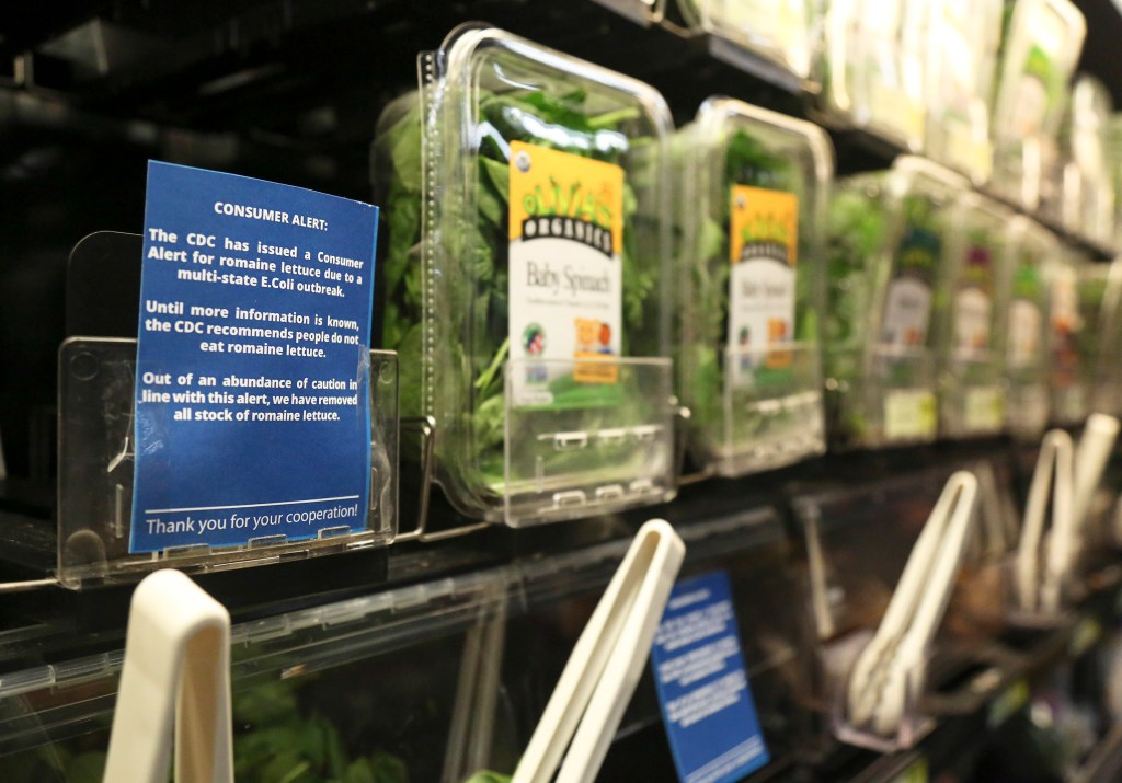 Romaine lettuce is removed from the shelves of the East End Food Co-op in Pittsburgh and other grocery stores because of a recent consumer alert regarding a multi state E.Coli outbreak.